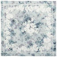 Прозрачное звучание 10054-1, павлопосадский платок (крепдешин) шелковый с подрубкой