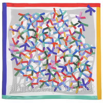 Аппликация 10068-1, павлопосадский шейный платок (крепдешин) шелковый с подрубкой