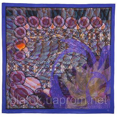 10104 платок шелковый (крепдешин) 10104-15, павлопосадский платок (крепдешин) шелковый с подрубкой