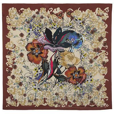 10081 платок шелковый (крепдешин) 10081-16, павлопосадский платок (крепдешин) шелковый с подрубкой