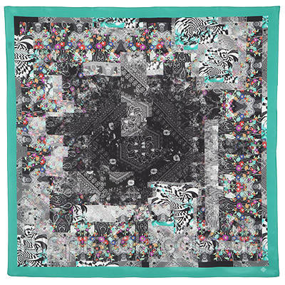 10098 платок шелковый (крепдешин) 10098-10, павлопосадский платок (крепдешин) шелковый с подрубкой