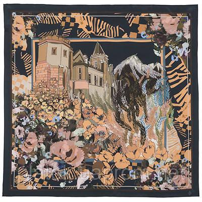 10121 платок шелковый (крепдешин) 10121-19, павлопосадский платок (крепдешин) шелковый с подрубкой