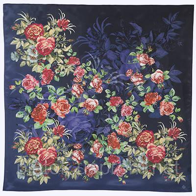 Платок шелковый (крепдешин) 10175-14, павлопосадский платок (крепдешин) шелковый с подрубкой