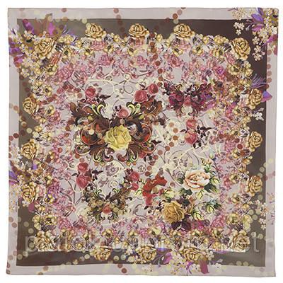 Платок шелковый 10165-2, павлопосадский платок шелковый крепдешиновый с подрубкой
