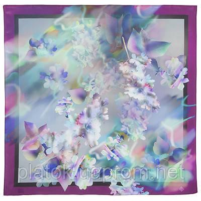 10080-15, павлопосадский шейный платок (крепдешин) шелковый с подрубкой