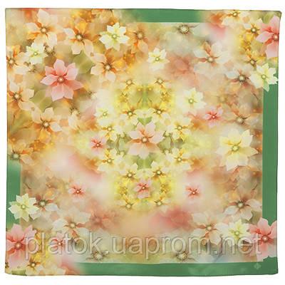10100 платок шейный шелковый (крепдешин) 10100-10, павлопосадский шейный платок (крепдешин) шелковый с подрубкой