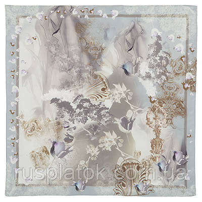 10117  платок шейный шелковый (крепдешин) 10117-1, павлопосадский шейный платок (крепдешин) шелковый с подрубкой