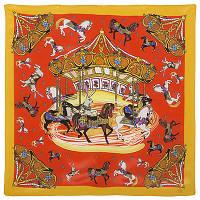 Платок шейный шелковый (крепдешин) 10119-2, павлопосадский шейный платок (крепдешин) шелковый с подрубкой