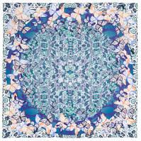 10147 платок шейный шелковый (крепдешин) 10147-11, павлопосадский шейный платок (крепдешин) шелковый с подрубкой