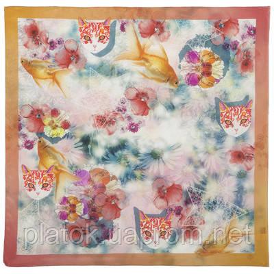10150 платок шейный шелковый (крепдешин) 10150-2, павлопосадский шейный платок (крепдешин) шелковый с подрубкой
