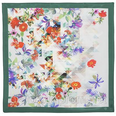10133-9, павлопосадский шейный платок (крепдешин) шелковый с подрубкой