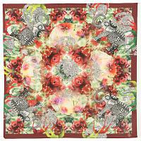 10162 платок шейный шелковый (крепдешин) 10162-5, павлопосадский шейный платок (крепдешин) шелковый с подрубкой