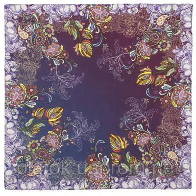 10180 платок шейный шелковый (крепдешин) 10180-15, павлопосадский шейный платок (крепдешин) шелковый с подрубкой