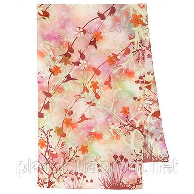 Шарф шелковый (крепдешин) 10105-3, павлопосадский шарф шелковый крепдешиновый с подрубкой