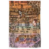 10216 палантин шерстяной 10216-4, павлопосадский шарф-палантин шерстяной (разреженная шерсть) с осыпкой