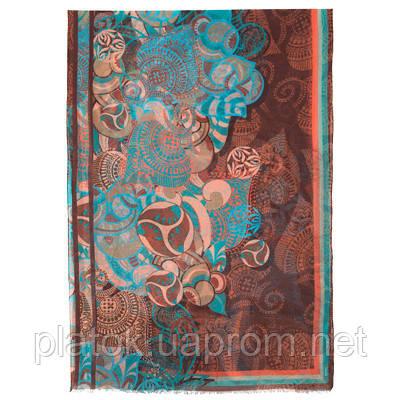 Палантин шерстяной 10219-16, павлопосадский шарф-палантин шерстяной (разреженная шерсть) с осыпкой