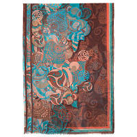 10219 палантин шерстяной 10219-16, павлопосадский шарф-палантин шерстяной (разреженная шерсть) с осыпкой, фото 1