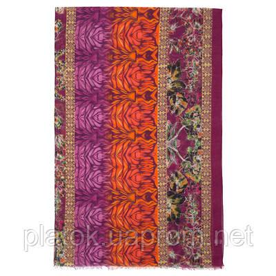 Палантин шерстяной 10225-7, павлопосадский шарф-палантин шерстяной (разреженная шерсть) с осыпкой