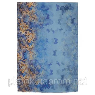 палантин шерстяной 10224-13, павлопосадский шарф-палантин шерстяной (разреженная шерсть) с осыпкой