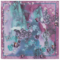 10117  платок шейный шелковый (крепдешин) 10117-3, павлопосадский шейный платок (крепдешин) шелковый с подрубкой