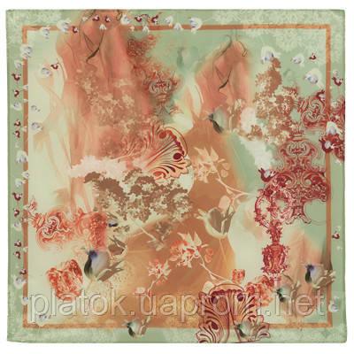 10117  платок шейный шелковый (крепдешин) 10117-10, павлопосадский шейный платок (крепдешин) шелковый с подрубкой