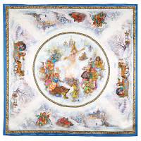 Весёлая масленица 10047-13, павлопосадский платок (атлас) шелковый с подрубкой   Стандартный сорт