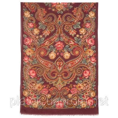 Для души 1697-6, павлопосадский шарф-палантин шерстяной (разреженная шерсть) с осыпкой