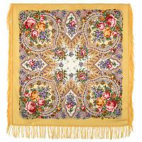 Весенние зори 1706-2, павлопосадский платок шерстяной с шерстяной бахромой, фото 1