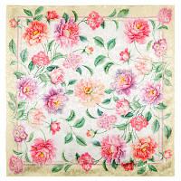 Весна в сердце 10031-2, павлопосадский платок (жаккард) шелковый с подрубкой