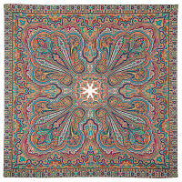 Восточное путешествие 1566-2, павлопосадский платок (шаль) хлопковый (саржа) с подрубкой   Первый сорт