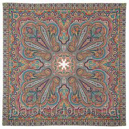 Восточное путешествие 1566-2, павлопосадский платок (шаль) хлопковый (саржа) с подрубкой
