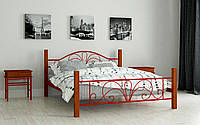 Кровать металлическая Изабела двухспальная 180 (Мадера / Madera) 1850х2020х920 мм красный лак