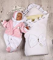 Зимний набор на выписку Мария+Little beauty (белый с розовым) , фото 1