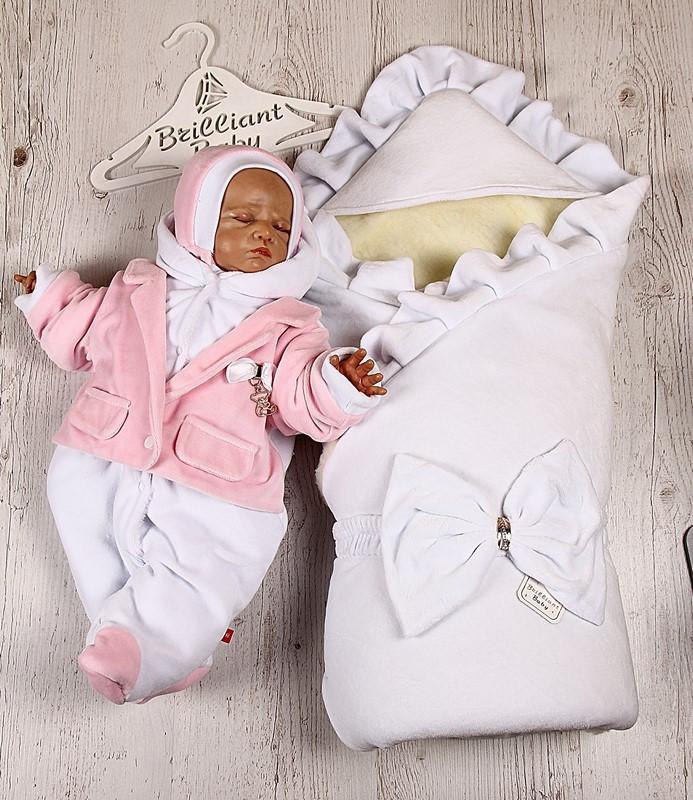 Зимний набор на выписку Мария+Little beauty (белый с розовым)
