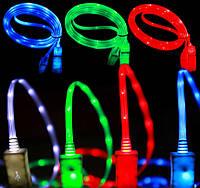 USB-Iphone 5/6 1м светящийся плоский 6 цветов