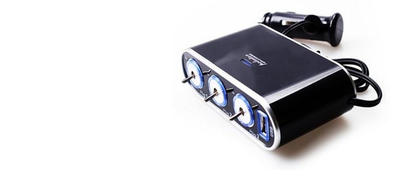 Прикурювач-3 роз'єми + USB з тумблером включення