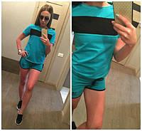 Спортивный женский костюм летний футболка и шорты адидас