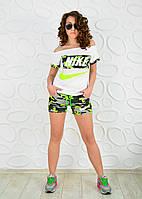 Спортивный женский костюм летний футболка и шорты Найк камуфляж милитари
