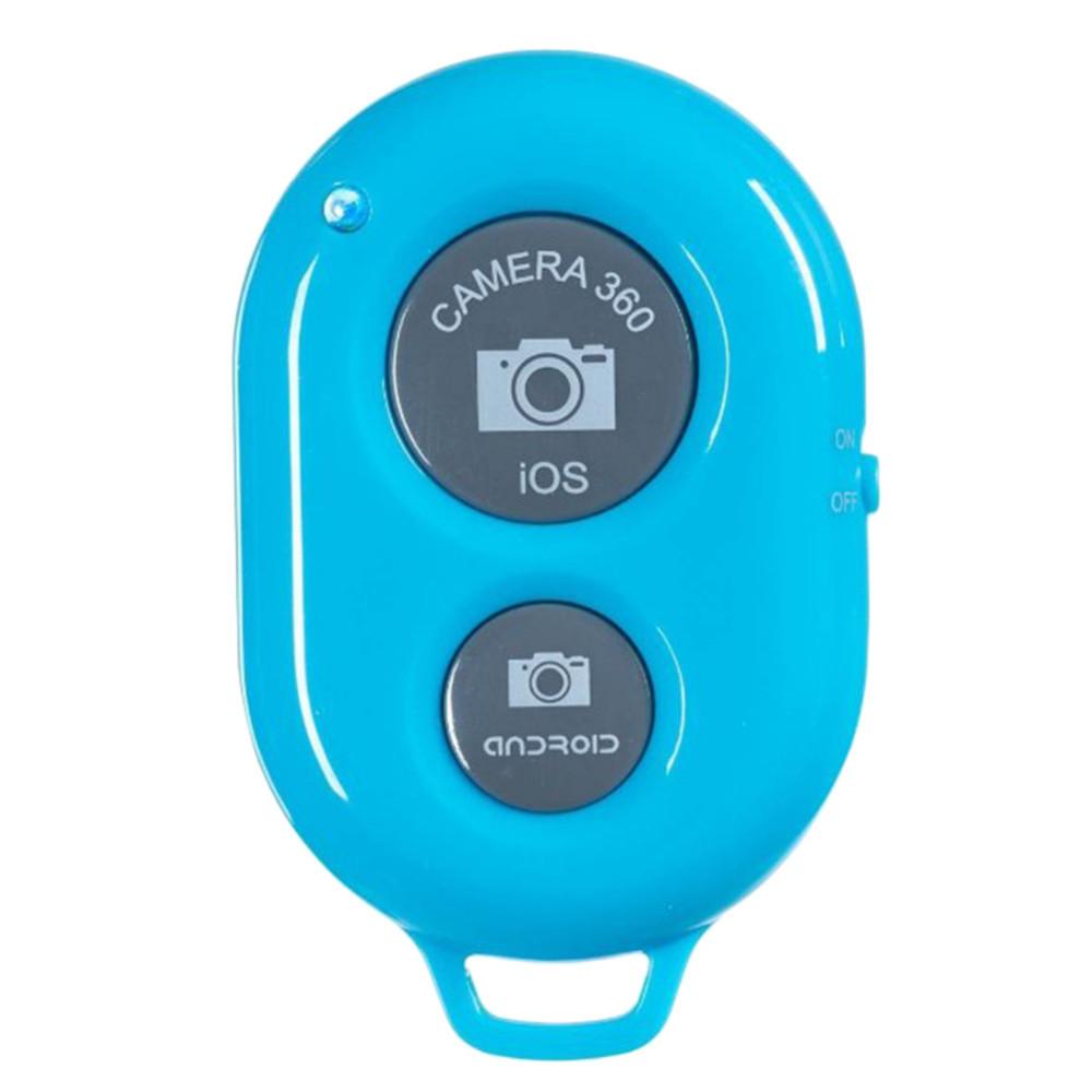 Пульт блютус для селфи для iPhone, Android. Bluetooth Remote shutter- голубой цвет