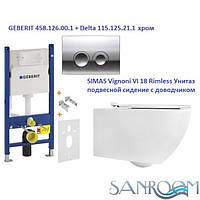Geberit Duofix 458.121.21.1   SIMAS Vignoni VI 18 Rimless Унитаз подвесной сидение с доводчиком