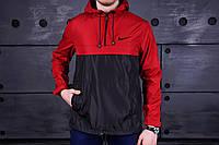 Мужской анорак Nike черно-красный на весну.