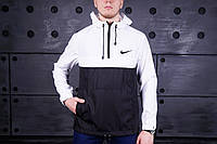 Мужской анорак, ветровка Nike на весну. Черно-белый