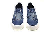 Женские слипоны светлый джинс со звездочками р.36-41