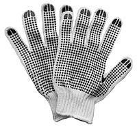 Перчатки строительные - хлопок (серо-черная) 4 нитки
