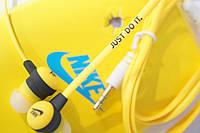 Вакуумные наушники Nike - Just Do It ярко желтые