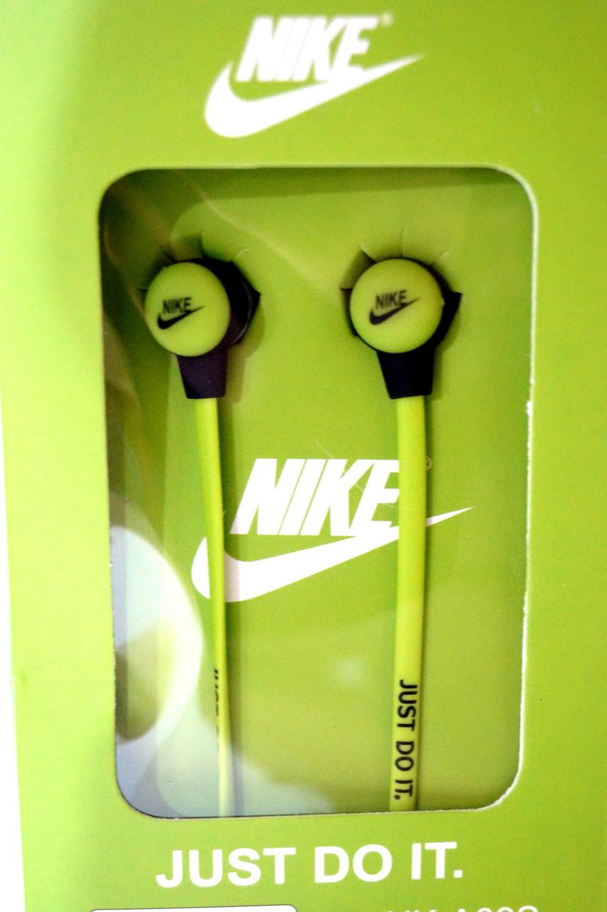 Вакуумные наушники Nike - Just Do It  ярко зеленые