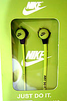 Вакуумные наушники Nike - Just Do It  ярко зеленые, фото 1
