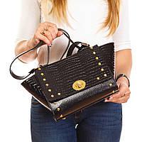 Женская трапециевидная сумочка черный крокодил