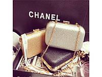 Гламурная вечерняя сумка-клатч Chanel Silver. Отличное качество. Доступная цена. Дешево. Код: КГ1035