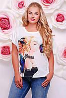 Женская модная белая футболка больших размеров с принтами (6 цветов)